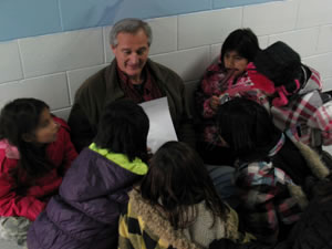 With kids at Wabasemoong School in Northwestern  Ontario